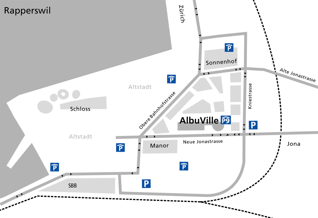 Anfahrt Albuville Rapperswil - Stadtplan